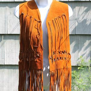 Vintage Golden Brown Leather Fringe Western Vest
